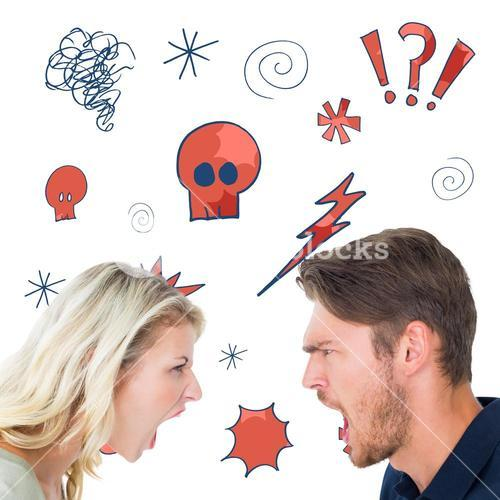 Composite image of angry couple shouting during argument