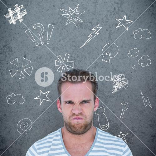 Composite image of angry man over white background