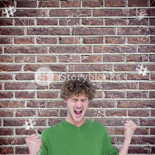 Composite image of furious man screaming with clenched fists
