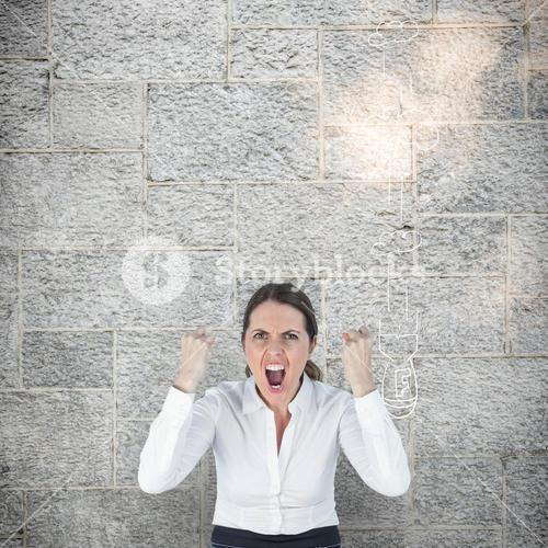 Composite image of portrait of screaming businesswoman clanching fists