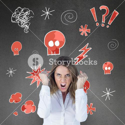 Composite image of  angry yelling businesswoman