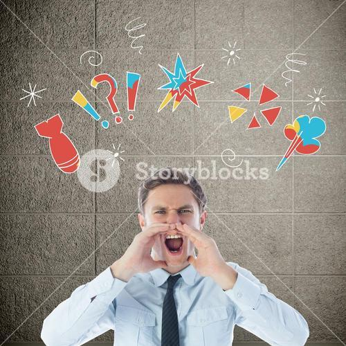 Composite image of angry businessman shouting