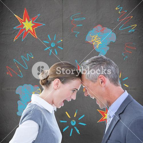 Composite image of business people yelling at each other over white background