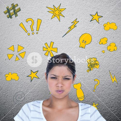Composite image of portrait of angry woman pulling face