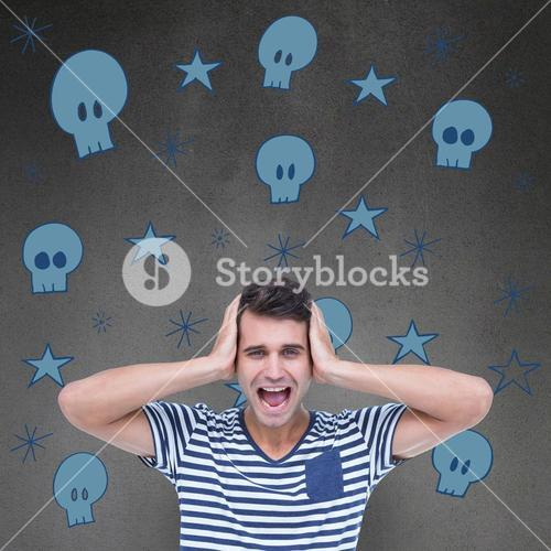 Composite image of handsome man screaming while covering ears