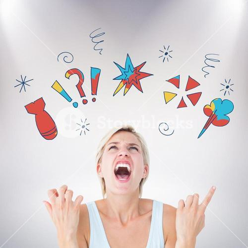 Composite image of upset woman screaming with hands up