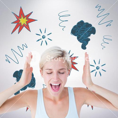 Composite image of happy blonde woman screaming with hands up