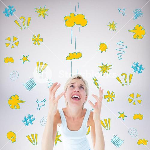 Composite image of upset woman yelling with hands up