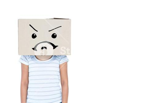 Composite image of depressed woman with box over head