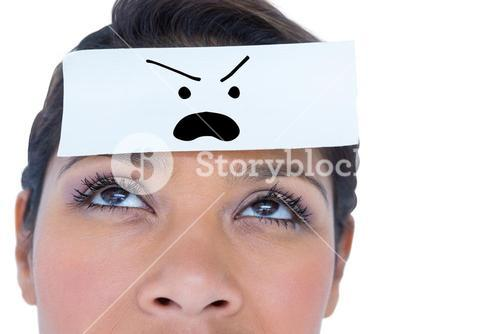 Composite image of beautiful woman with blank note on forehead