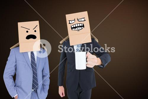 Composite image of anonymous businessman with mug