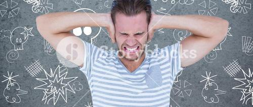 Composite image of handsome casual man screaming with hand on ears
