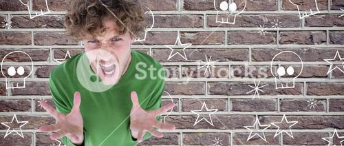 Composite image of portrait of furious man screaming over white background