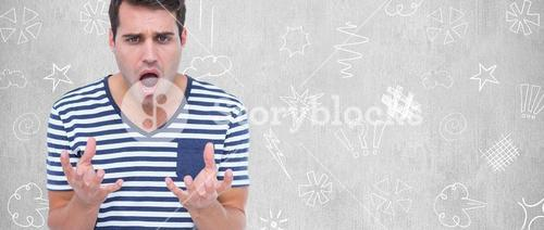 Composite image of astonished man gesturing over white background