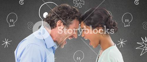 Composite image of angry business people shouting at each other over white background