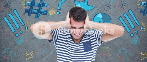 Composite image of frustrated man covering ears