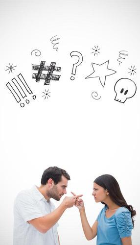 Composite image of angry couple pointing at each other