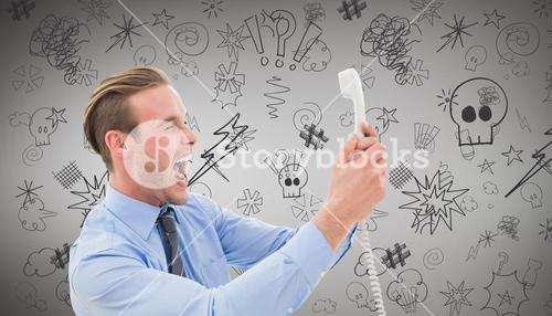 Composite image of businessman shouting at phone