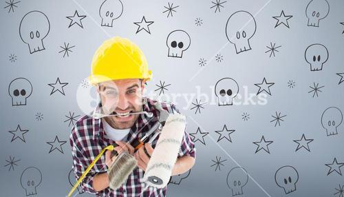 Composite image of frustrated handyman holding various tools