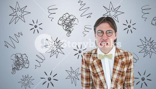 Composite image of furious geeky hipster looking at camera