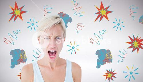 Composite image of angry blonde woman screaming