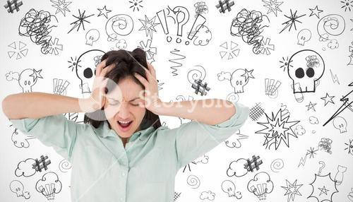 Composite image of depressed woman shouting