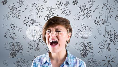 Composite image of pretty brunette shouting