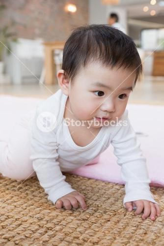 Cute baby on the carpet