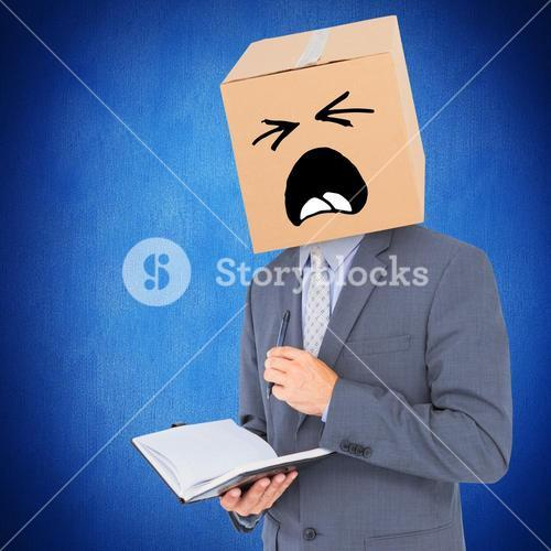 Composite image of anonymous businessman with diary