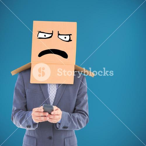 Composite image of anonymous businessman using phone