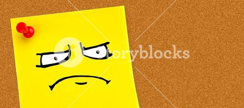 Composite image of angry face