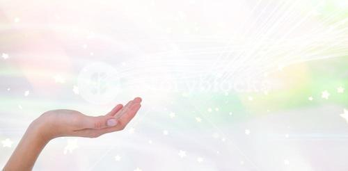 Composite image of woman presenting with her hands