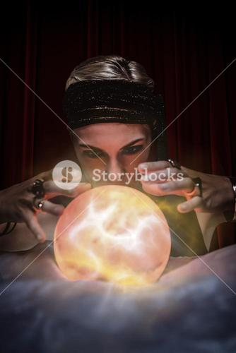 Composite image of fortune teller forecasting the future