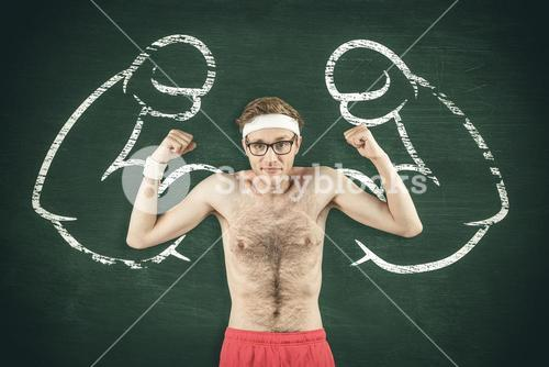 Composite image of geeky shirtless hipster flexing biceps