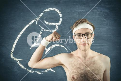 Composite image of geeky shirtless hipster flexing bicep