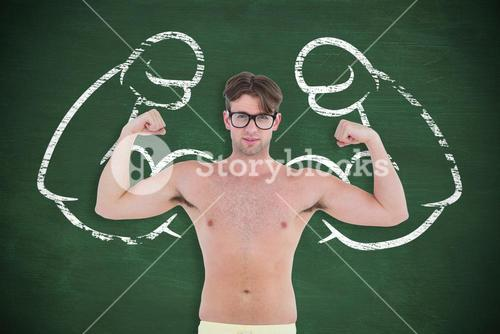 Composite image of geeky hipster posing topless