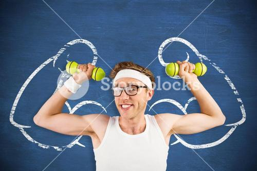 Composite image of nerd lifting weights