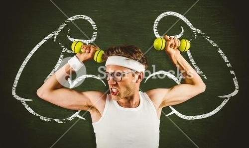 Composite image of geeky hipster posing in sportswear with dumbbells