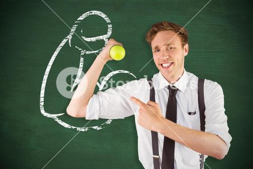 Composite image of geeky businessman lifting a dumbbell
