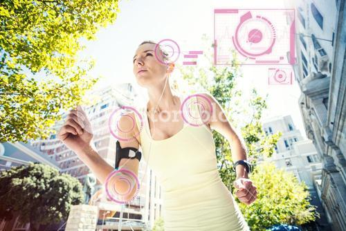 Composite image of a pretty woman running in the street