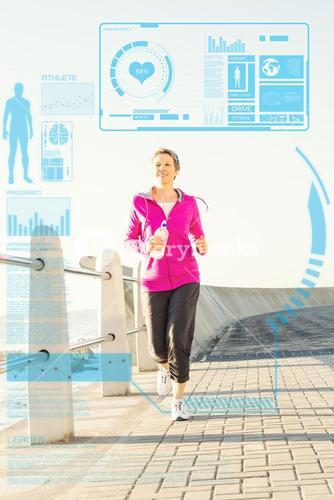 Composite image of smiling sporty woman jogging at promenade
