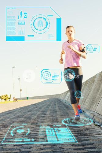 Composite image of focused sporty blonde jogging at promenade