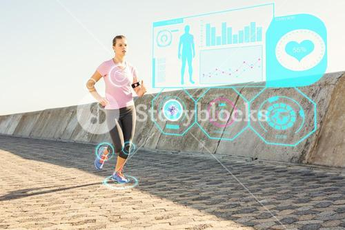 Composite image of sporty blonde jogging at promenade
