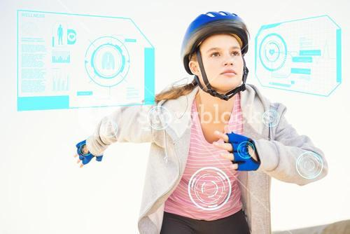 Composite image of focused sporty blonde skating