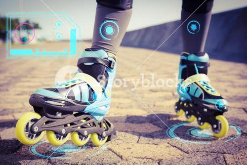 Composite image of close up view of woman wearing inline skates