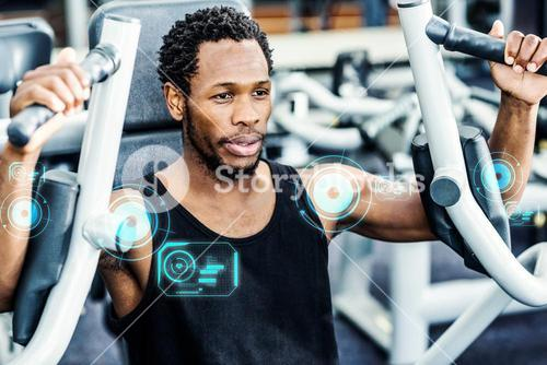 Composite image of man working out in gym