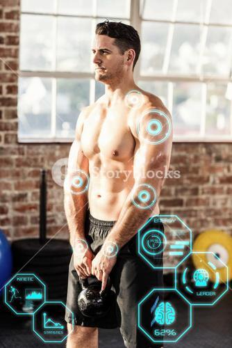 Composite image of muscular man lifting a kettlebell