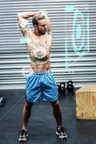 Composite image of muscular man doing arm stretchings