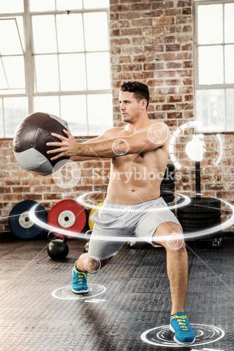 Composite image of muscular man exercising with medicine ball