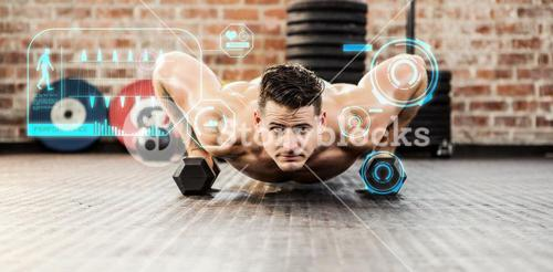 Composite image of portrait of man doing dumbbell push ups